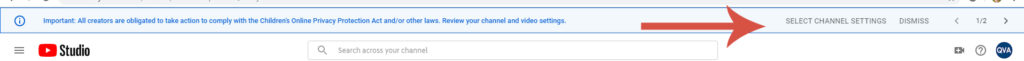 YouTube notification about COPPA law