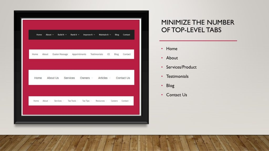 Minimize the number of top-level tabs you use on your website